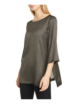 Eileen Fisher crosshatch print silk & organic cotton tunic top