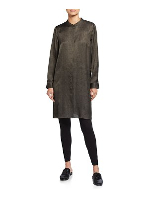Eileen Fisher Crossroad Print Silk/Organic Cotton Mandarin-Collar Shirtdress