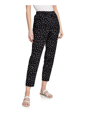 Eileen Fisher Dot Hand-Printed Organic Cotton Ankle Pants