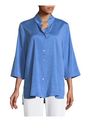 Eileen Fisher Doupioni Stand-Collar Silk Shirt