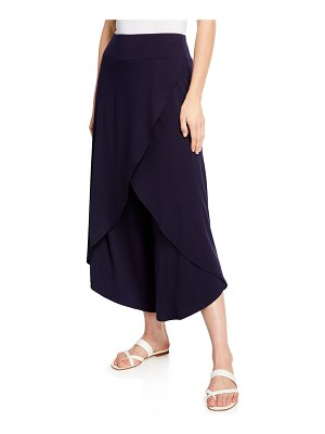 Eileen Fisher Faux-Wrap Wide-Leg Jersey Crop Pants
