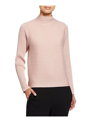 Eileen Fisher Funnel-Neck Merino Wool Rib Sweater