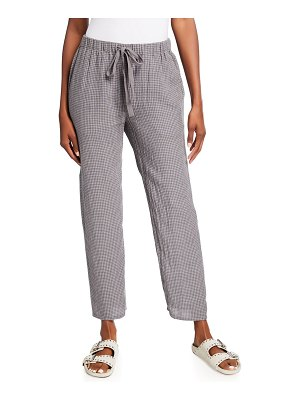 Eileen Fisher Gingham Puckered Organic Linen Ankle Pants