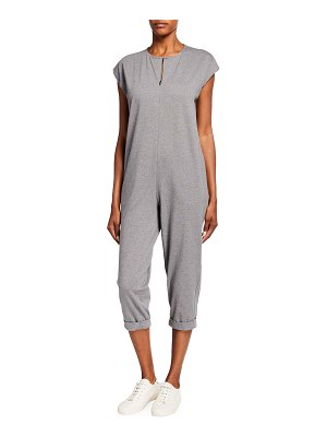 Eileen Fisher Heathered Organic Cotton Jersey Cropped Jumpsuit