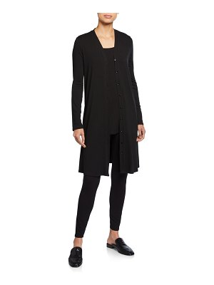 Eileen Fisher Jersey V-Neck Button-Front Long Dress