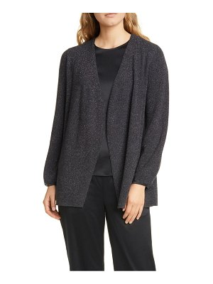 Eileen Fisher metallic detail wool blend open cardigan