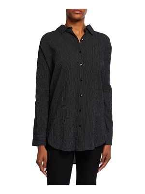 Eileen Fisher Mini Stripe Crepe Button-Down Shirt