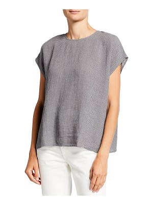 Eileen Fisher Missy Puckered Check-Print Organic Linen Boxy Top