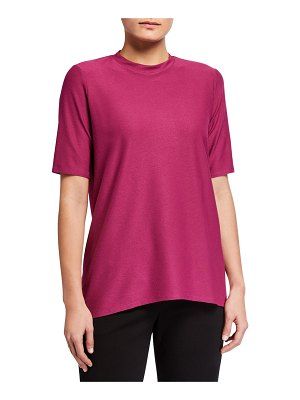 Eileen Fisher Mock-Neck Short-Sleeve Stretch Crepe Top