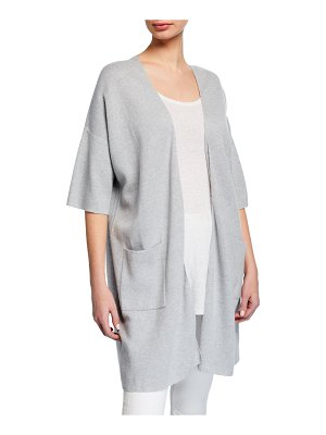 Eileen Fisher Open-Front Elbow-Sleeve Long Cardigan