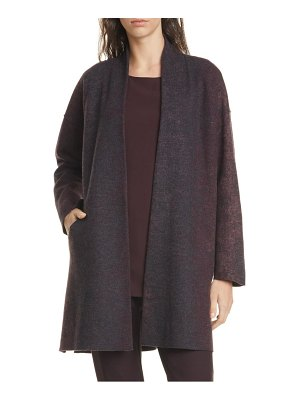 Eileen Fisher open front wool blend coat