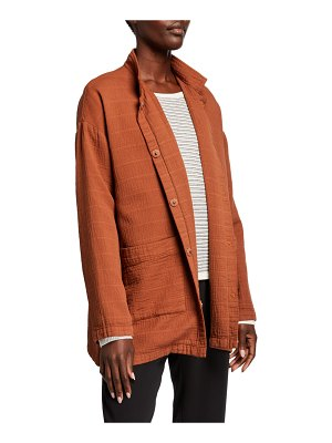 Eileen Fisher Organic Cotton Channel Stand Collar Button-Front Jacket