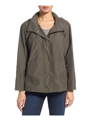 Eileen Fisher organic cotton & nylon stand collar jacket with stowaway hood