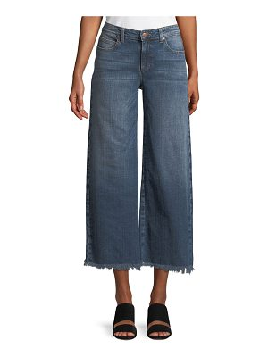Eileen Fisher Organic Cotton Stretch-Denim Wide-Leg Ankle Jeans with Raw Edges