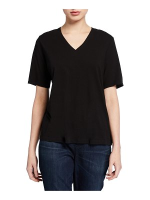 Eileen Fisher Organic Cotton V-Neck Short-Sleeve Jersey Tee