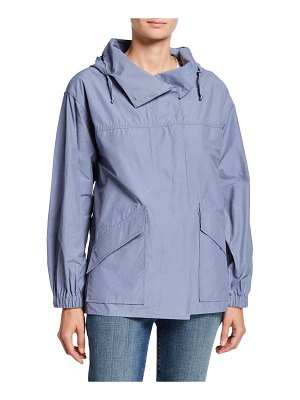 Eileen Fisher Organic Cotton/Nylon Button-Front Hooded Shirttail-Hem Jacket
