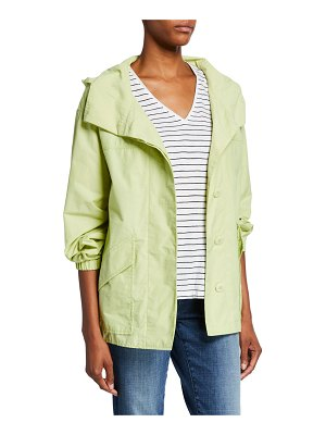 Eileen Fisher Organic Cotton/Nylon Button-Front Hooded Shirttail-Hem Raincoat