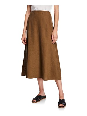 Eileen Fisher Organic Linen A-Line Side-Slit Midi Skirt