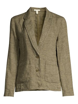 Eileen Fisher organic linen notch-collar shaped blazer