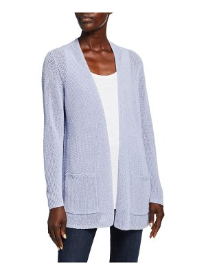 Eileen Fisher Organic Linen/Cotton Tape-Yarn Simple Cardigan