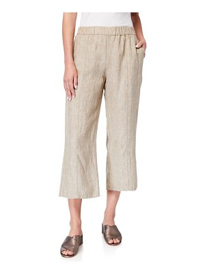 Eileen Fisher Organic Washed Linen Wide-Leg Cropped Pull-On Pants