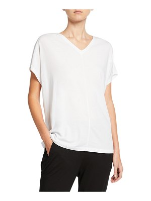 Eileen Fisher Oversize V-Neck Short-Sleeve Organic Cotton Jersey Tee