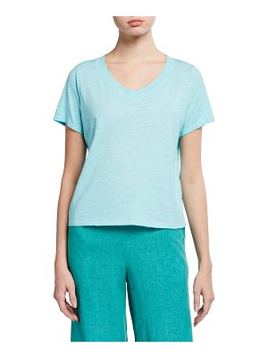 Eileen Fisher Pigment Dyed Organic Cotton V-Neck Top