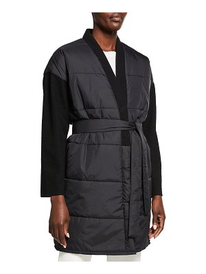 Eileen Fisher Quilted Recycled Nylon Coat with Boiled Wool