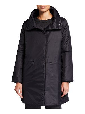 Eileen Fisher Recycled Nylon Stand-Collar Cocoon Coat