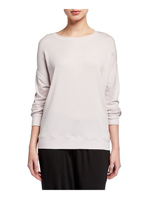 Eileen Fisher Round-Neck Long-Sleeve Jersey Box Top