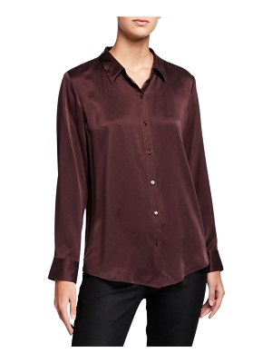 Eileen Fisher Sandwash Silk Button-Front Long-Sleeve Shirt