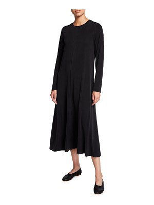Eileen Fisher Sandwashed Cupro Long-Sleeve Midi Dress