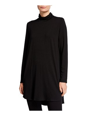 Eileen Fisher Scrunch Turtleneck Jersey Tunic Sweater