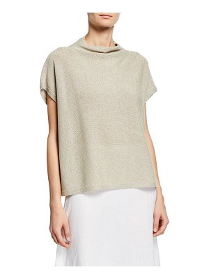 Eileen Fisher Shine Funnel-Neck Short-Sleeve Top