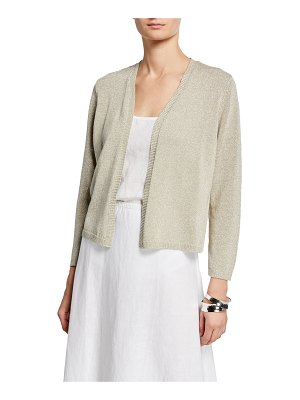 Eileen Fisher Shine Open-Front Bracelet-Sleeve Crop Cardigan