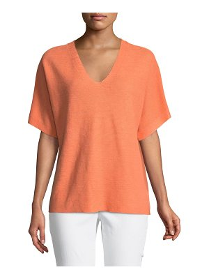 Eileen Fisher Short-Sleeve V-Neck Organic Linen Top