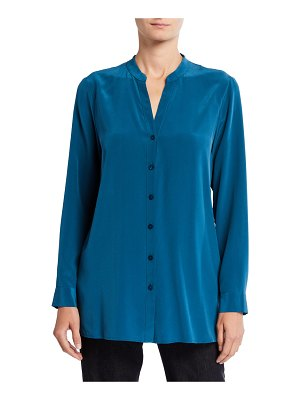 Eileen Fisher Silk Crepe Button-Front Shirt