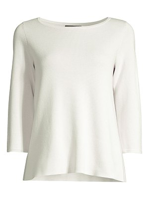Eileen Fisher silk & organic cotton-blend bateau-neck top