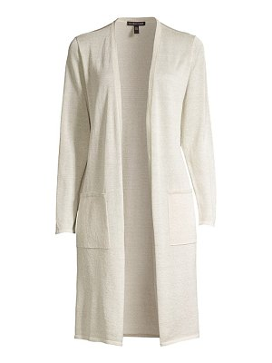 Eileen Fisher simple long lurex organic linen-blend cardigan