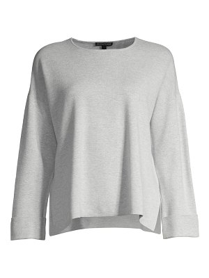 Eileen Fisher simple roll-cuff sweater