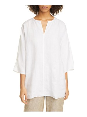Eileen Fisher split neck dolman sleeve organic linen tunic