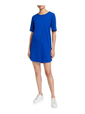 Eileen Fisher Stretch Organic Cotton Jersey Elbow-Sleeve Dress