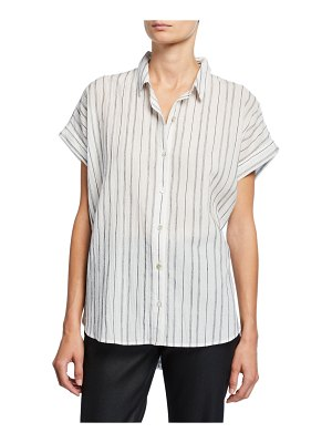 Eileen Fisher Striped Button-Down Short-Sleeve Shirt