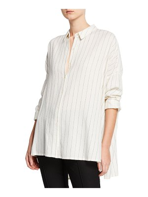 Eileen Fisher Striped Gauze Button-Front Classic Collar Boxy Shirt