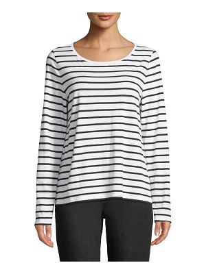 Eileen Fisher Striped Jersey Long-Sleeve Top