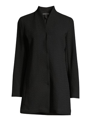 Eileen Fisher textured high-collar jacket