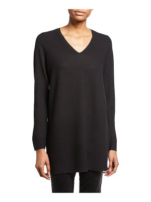 Eileen Fisher Textured Wool Crepe V-Neck Sweater