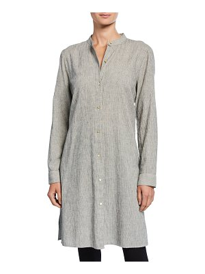 Eileen Fisher Ticking Stripe Button-Down Long-Sleeve Long Shirt