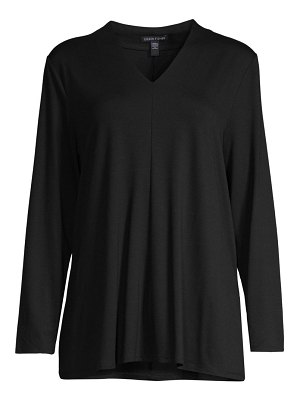 Eileen Fisher v-neck draped long-sleeve top