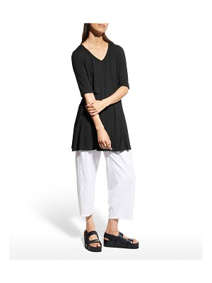 Eileen Fisher V-Neck Elbow-Sleeve Viscose Jersey Tunic